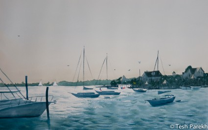 Afternoon, Wrightsville Beach. Plein air. Watercolor painting on paper.