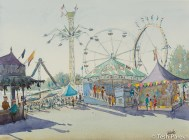 State Fair #4. Watercolor painting on paper.