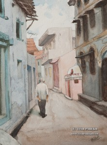 J.C. Watercolor painting on paper. My Dad walking down the street where we grew up.