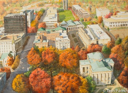 Raleigh Downtown Autumn. Watercolor painting on paper.