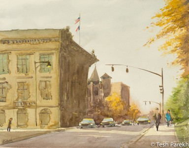 Morgan Street. Plein Air Watercolor painting on paper.