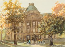 NC State Capitol Evening. Plein Air Watercolor painting on paper.