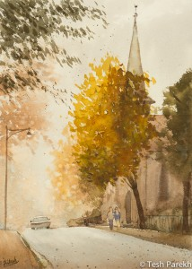 Christ Church. Plein Air Watercolor painting on paper.