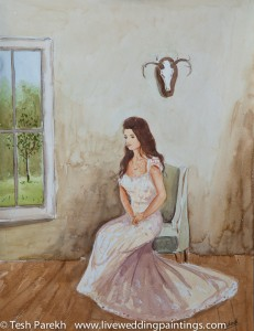Live wedding painting at the Bradford. Watercolor on paper.