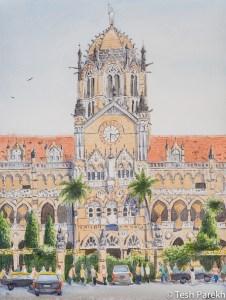 Mumbai CST. 12x16 watercolor on paper.