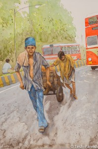 Day Laborers of Mumbai. 21x14 watercolor on paper.