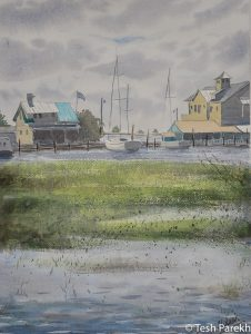 """View from Gazebo"". Southport NC paintings. 12x16. Watercolor on paper. Available."