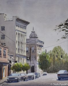 """Gordon Street"". 11x14 Watercolor on paper. Available. Kinston NC Paintings."