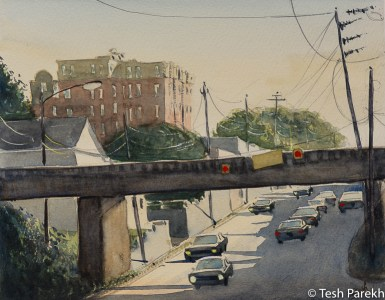 "Raleigh Art - ""Peace Street Bridge"". Watercolor on paper. Original sold- prints available."