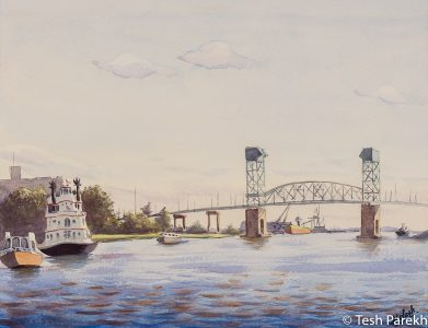 """Henrietta III, Wilmington NC"". 12.5x16.5. Plein Air Watercolor painting on paper. Available. Wilmington Paintings."