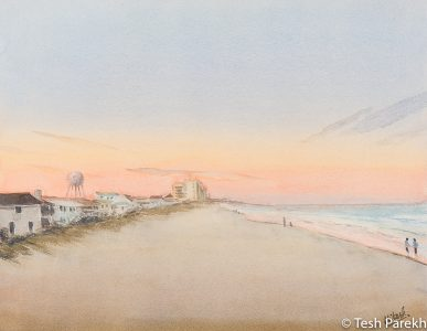 """Wrightsville Beach Evening"". 14x18. Watercolor painting on paper. Available. Wilmington Paintings."