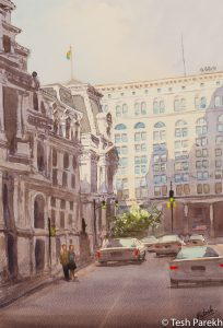 """City Hall Afternoon, Philadelphia"". Watercolor painting on paper. 19x13. Available. Philadelphia paintings."