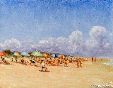 Carolina Beach Day. Oil painting on linen. 11x14.
