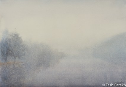 """Fog"". 13x19. Watercolor on paper. Juried into Schwa Show- Pitt County Arts Council's National Juried Show."