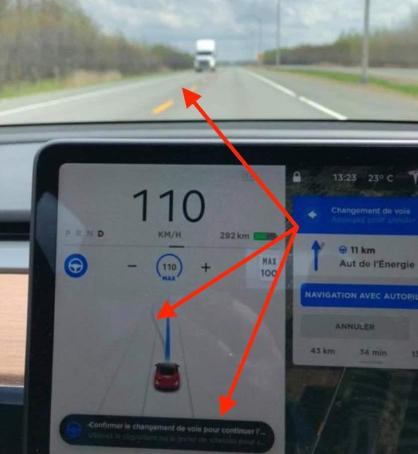 Tesla auto lane change detail