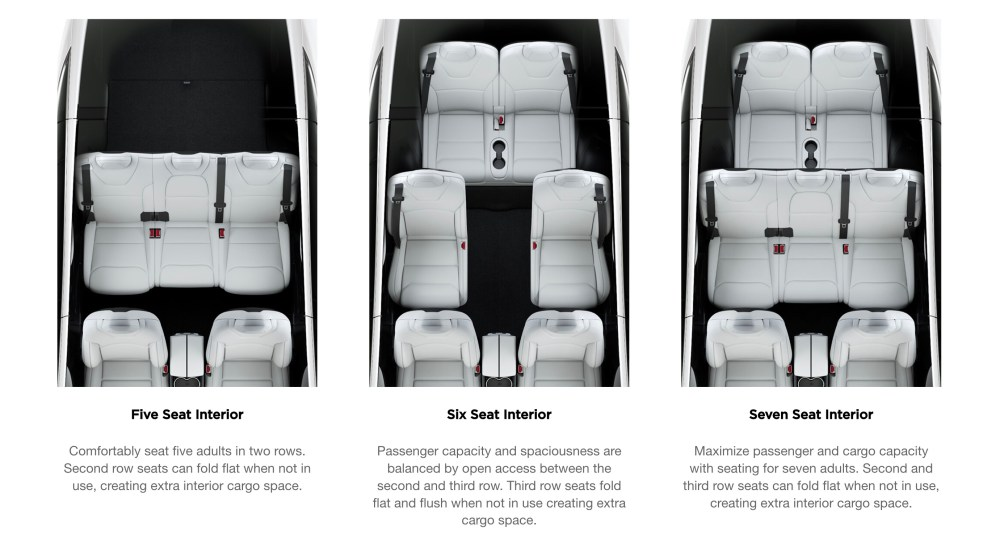 medium resolution of model x offers three types of seating configuration