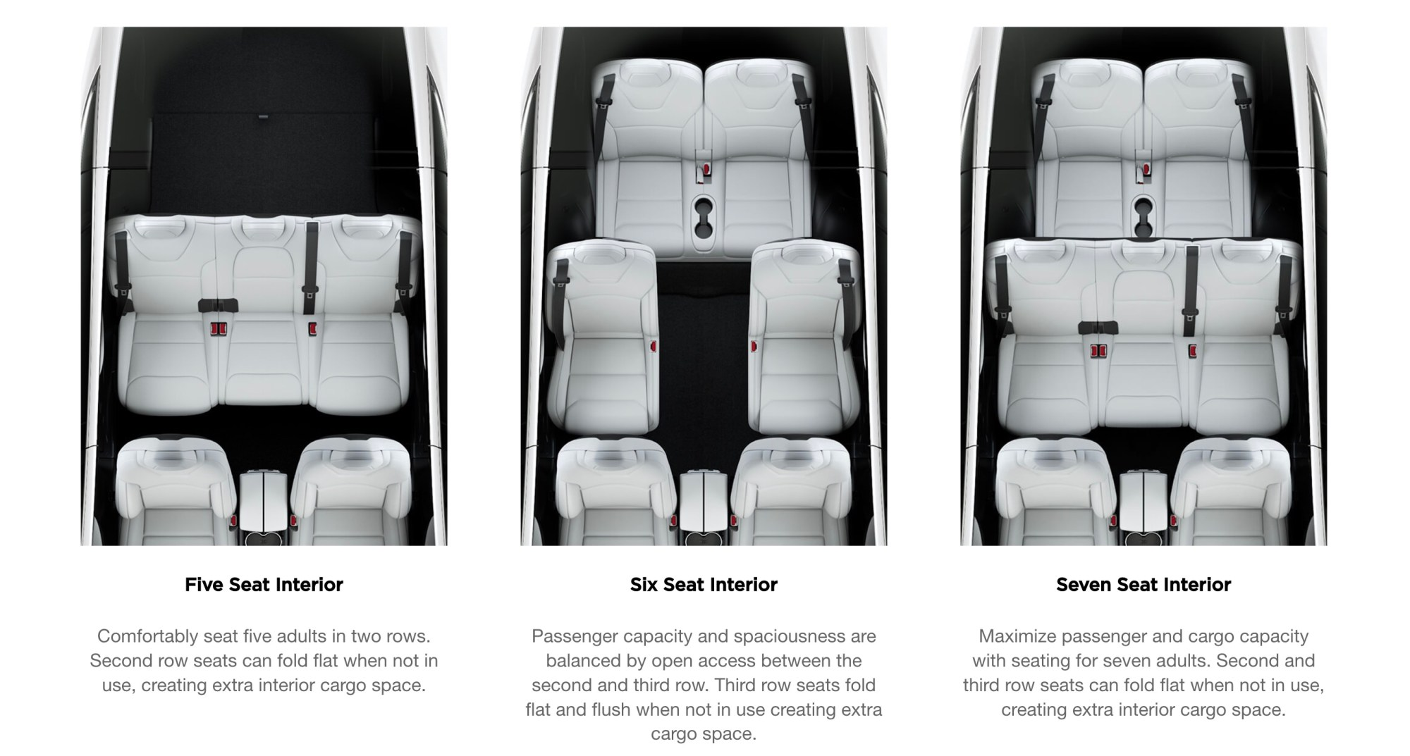 hight resolution of model x offers three types of seating configuration