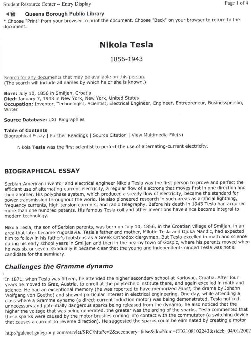 Biographical Essay Nikola Tesla Biographical Essay Biographical Nikola  Tesla Biographical Essay