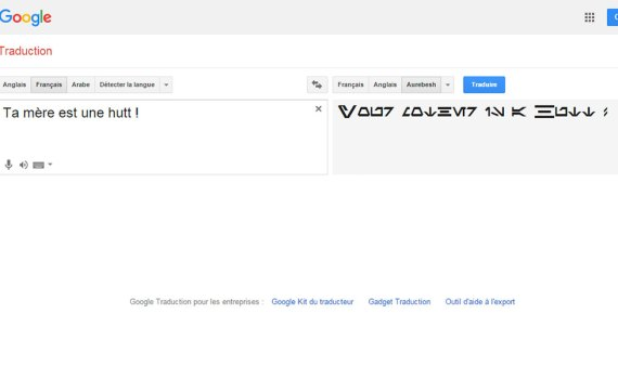 Google Traduction en Aurebesh sur T'es Pas Net !