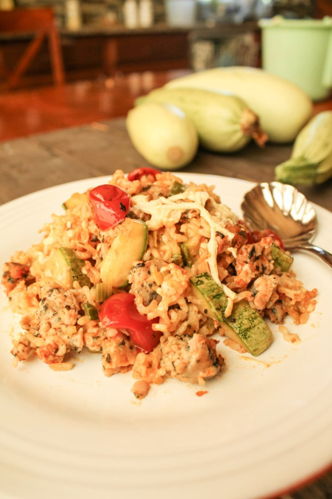 from the front view of a white plate filled with brown rice, zucchini, tomato, and cheese casserole