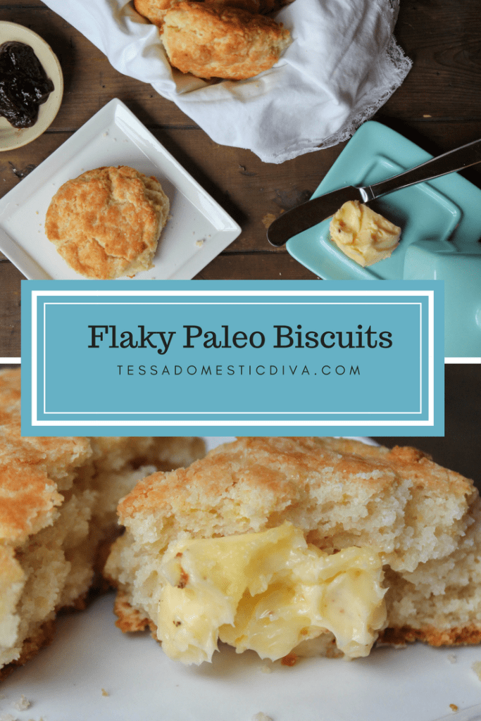 collage for pinterest flaky paleo biscuits slathered in butter