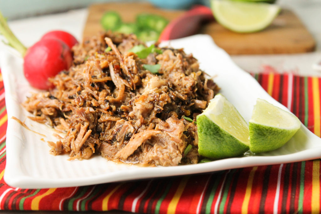 shredded pork atop a white plate on a red striped fabric looking eye level