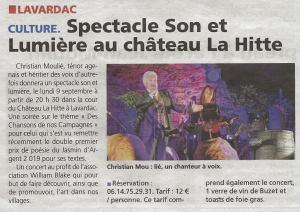 Spectacle Son et Lumiére au Château de La Hitte
