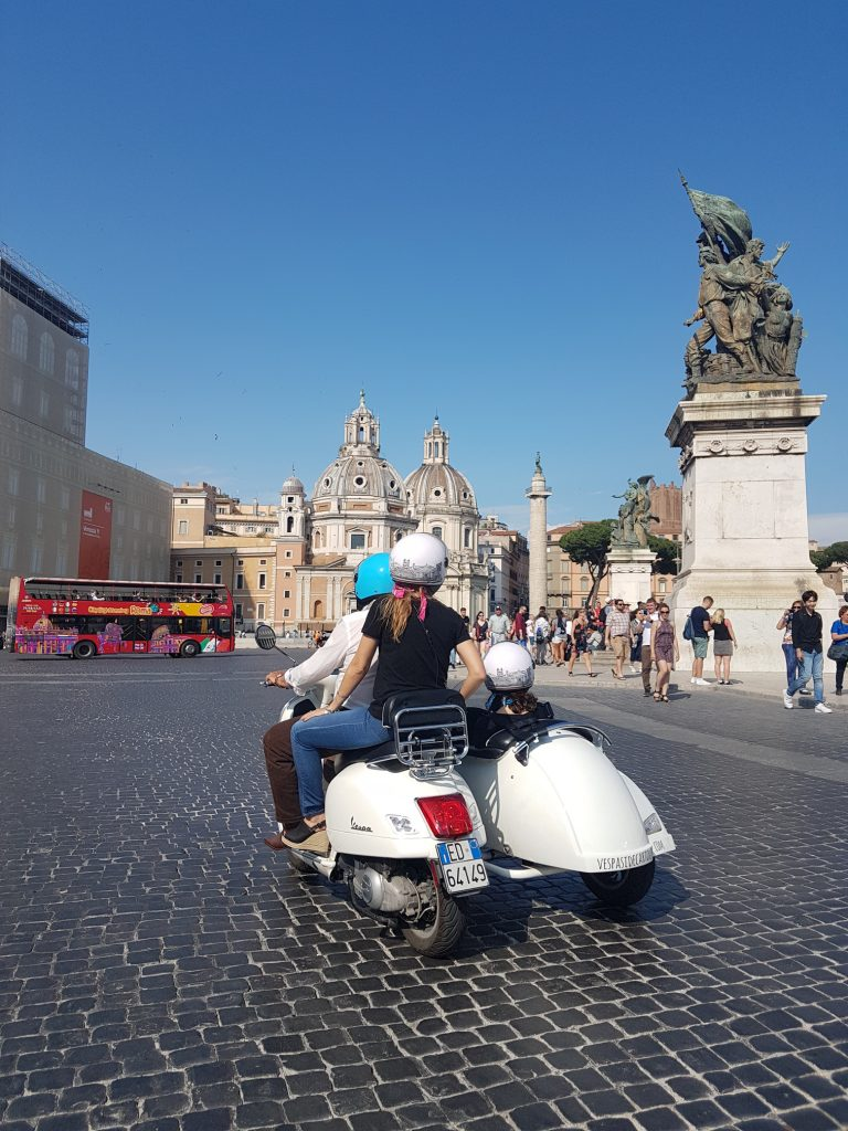 A Vespa sidecar tour of Rome, created by tours of Italy specialists, Dragonfly Tours