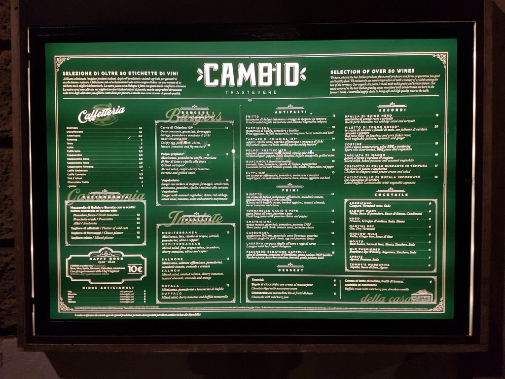 Cambio Trastevere is one of the best restaurants in Rome and Trastevere, combining typical Roman food with top quality ingredients.