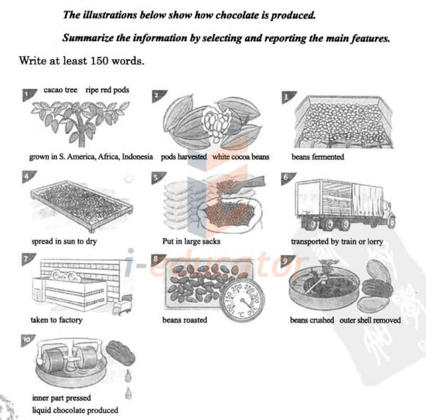 The illustrations below show how chocolate is produced
