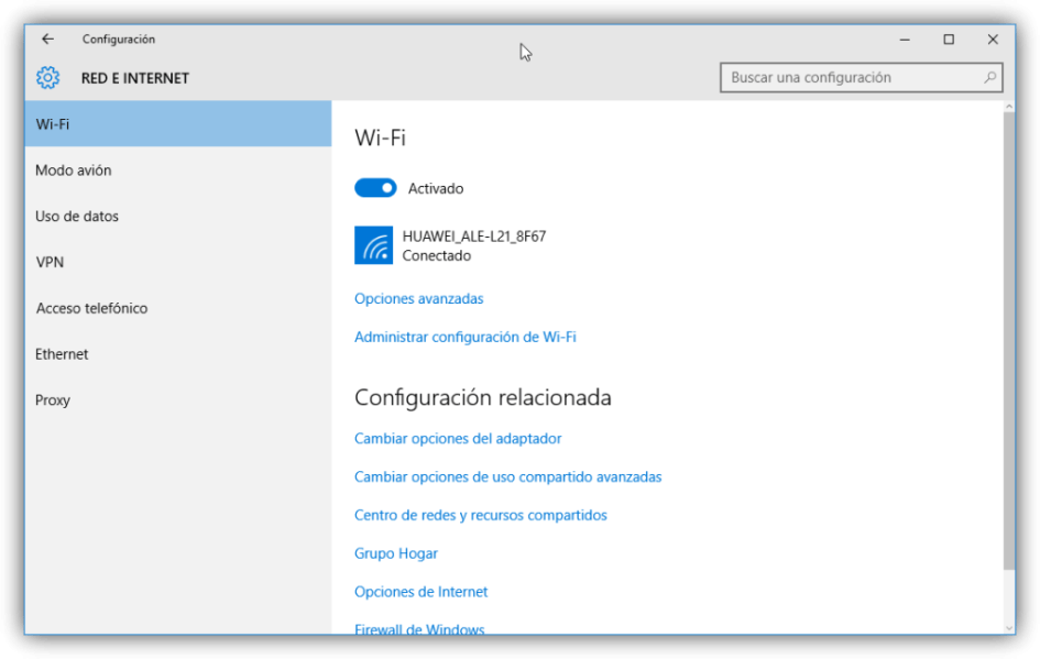 Configuración de red Wi-Fi en Windows 10