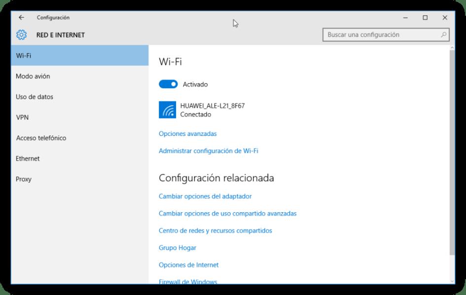 Configuración de red Wi-Fi en Windows 10