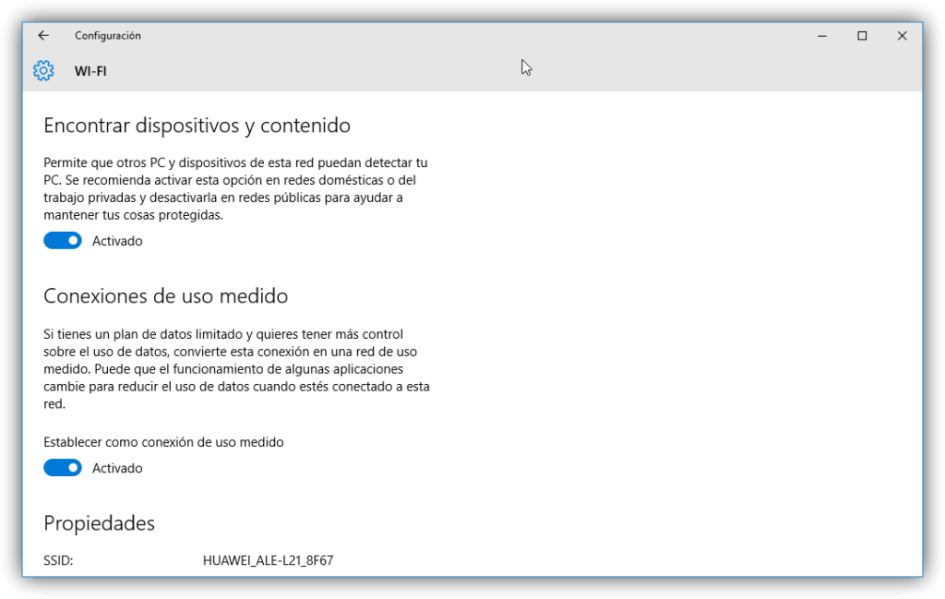 Red de uso medido en Windows 10