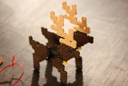 Les rennes du traîneau du Père Noel en perles à repasser