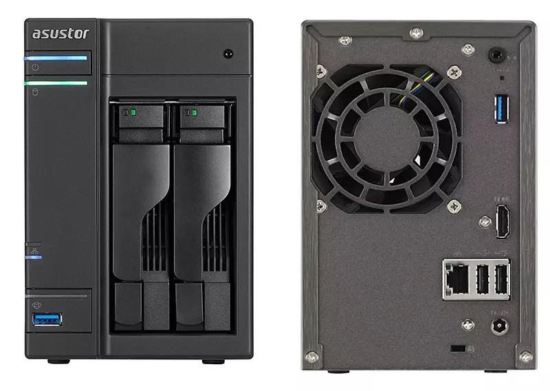 Asustor AS-302T USB 2.0 NAS Server - Vista frontal y posterior