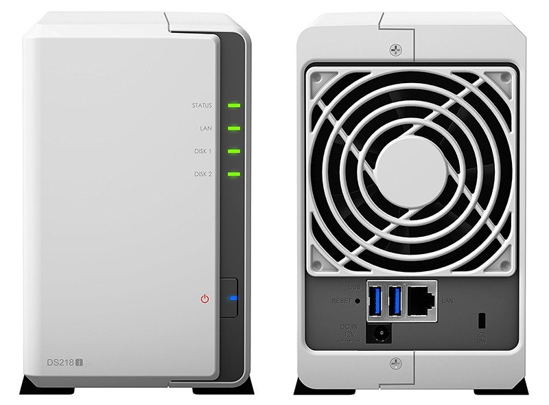 Synology DS218J NAS 2 Bay: anverso y reverso