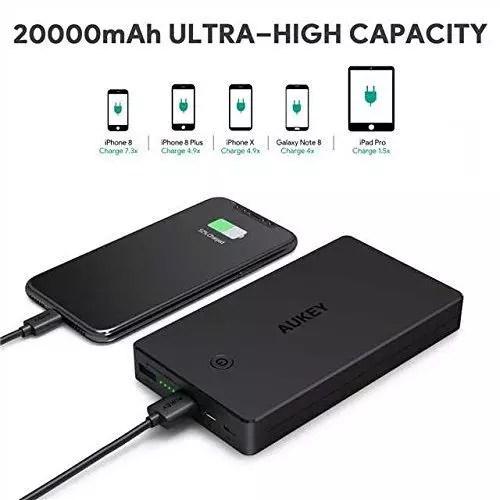 AUKEY Batería externa 20000mAh, Banco de energía 2 puertos de entrada