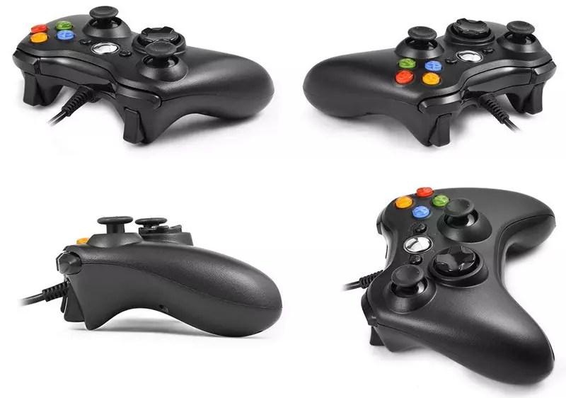Controlador con cable Xbox 360, Controlador de gamepad USB, Controlador de juego con cable con Joypad de doble vibración para Windows PC-Xbox 360 (Negro) jpg