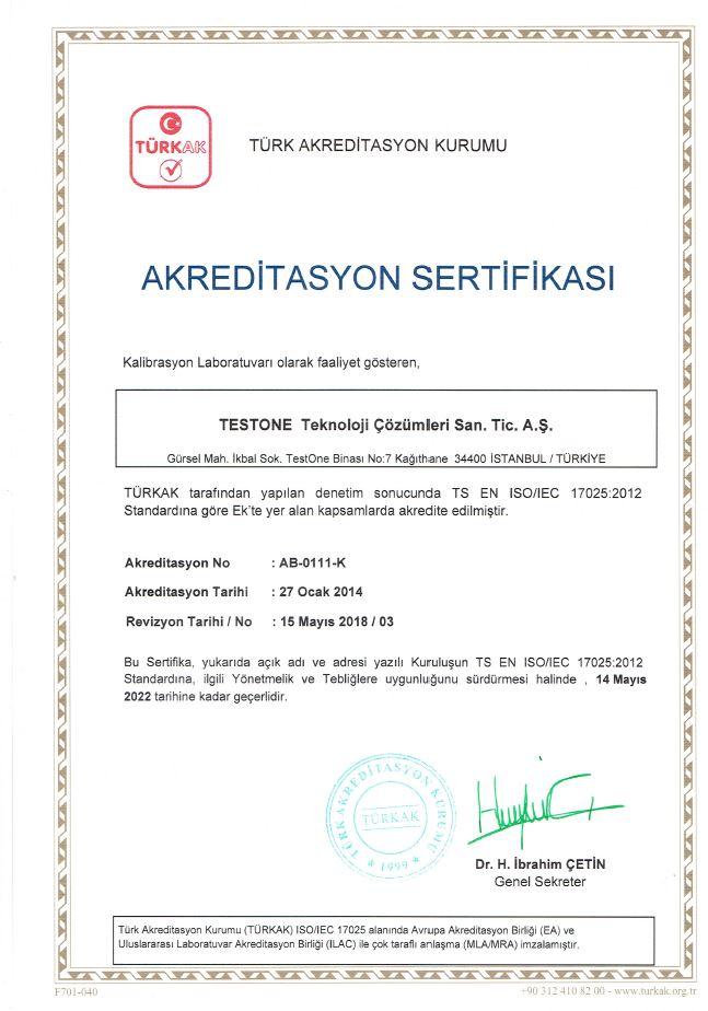 testone teknoloji kalibrasyon sertifikası