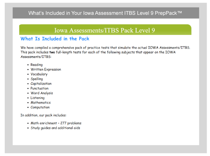 3rd Grade Iowa Assessment and ITBS Practice  TestPrepOnline