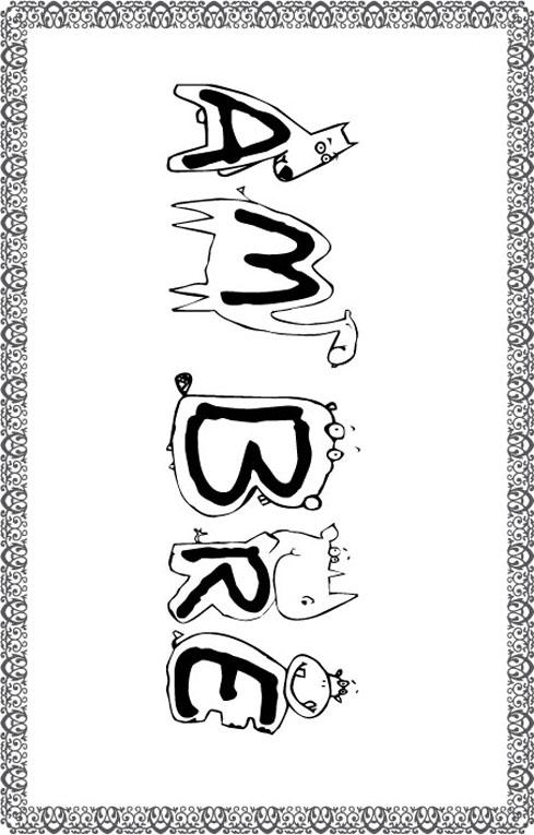 Coloriage prénom Ambre - drôles de lettres bestioles- Tête à modeler