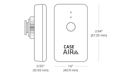 The side view and top view of Case Air with measurements. Illustration