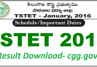 TSTET Result 2016 Download