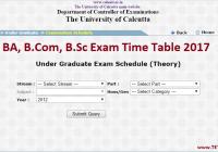 Calcutta University BA BCom BSc Time Table 2017