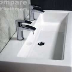Extra Deep Kitchen Sink Frosted Glass For Cabinet Doors Slab Basin Bathroom 2 Tap Hole His And Hers