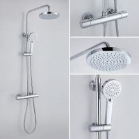 Cool Touch Thermostatic Shower Set Kit Valve Dual Head ...