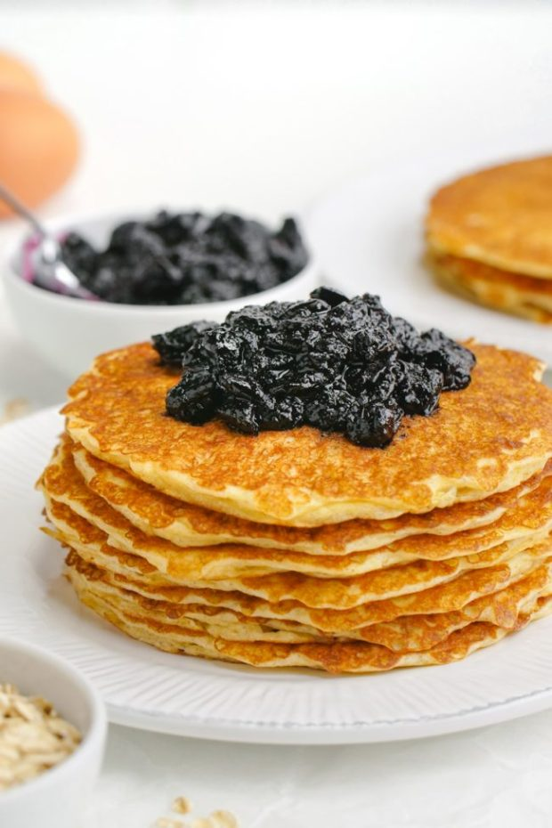 These delicious and easy protein pancakes get a nutritional boost from cottage cheese and Greek yogurt! The recipe makes enough for just two people but you can easily double or even quadruple the recipe. Can be made gluten-free or whole grain.