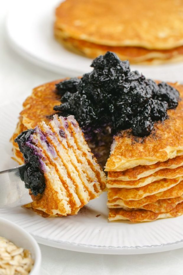 These easy and delicious protein pancakes get a nutritional boost from cottage cheese and Greek yogurt! The recipe makes enough for just two people but you can easily double or even quadruple the recipe. Can be made gluten-free or whole grain.