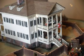 Close up of the model of the Kershaw House