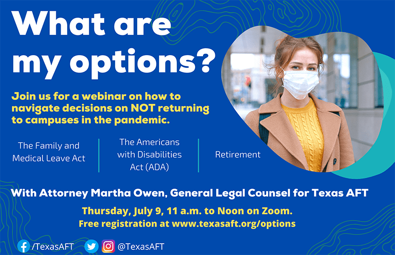 """""""What are my options"""" title slide from webinar with Marth Owen, general legal counsel for Texas AFT"""